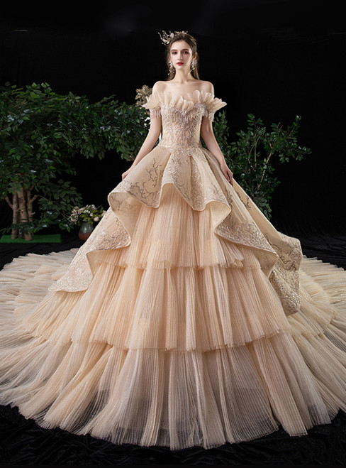 Champagne Ball Tulle Tiers Off the Shoulder Beading Wedding Dress With Long Train