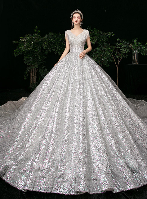 White Ball Gown Sequins V-neck Backless Beading Wedding Dress