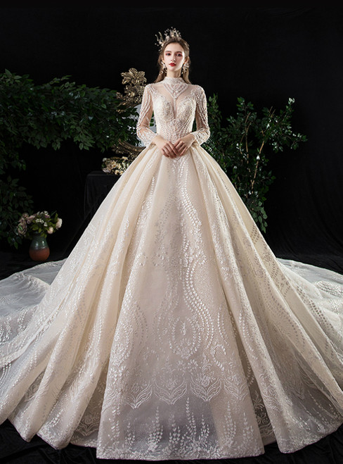 Champagne Ball Gown Tulle Embrodiery High neck Long Sleeve Wedding Dress