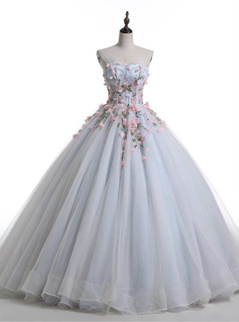 Sweetheart A-line Wedding Gown with Handmade Floral Decoration