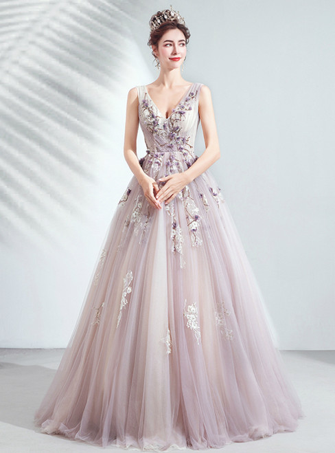 In Stock:Ship in 48 Hours Purple Tulle V-neck Embroidery Appliques Prom Dress