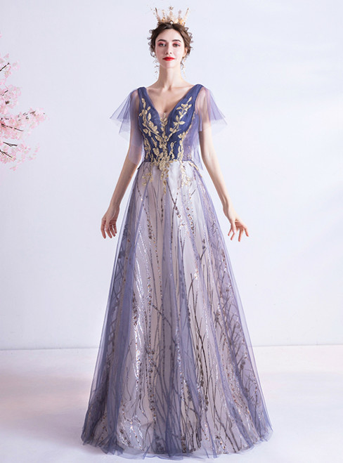 In Stock:Ship in 48 Hours Purple Tulle Sequins V-neck Prom Dress