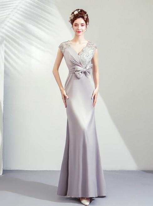 In Stock:Ship in 48 Hours Light Gray Sheath Satin V-neck Sequins Prom Dress