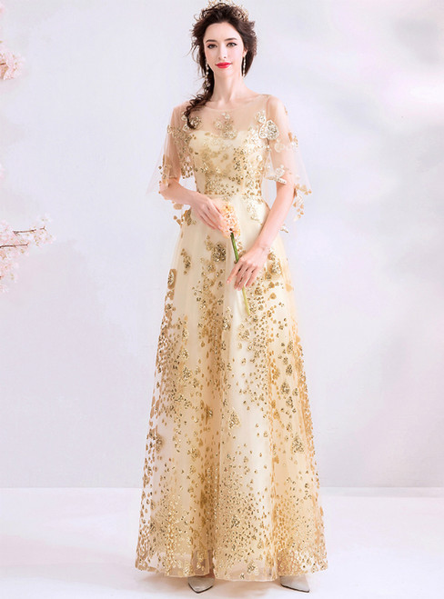 In Stock:Ship in 48 Hours Gold Sequins Backless Long Prom Dress