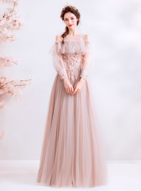In Stock:Ship in 48 Hours Pink Tulle Appliques Cold Shoulder Long Sleeve Prom Dress