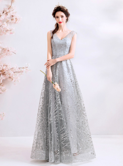 In Stock:Ship in 48 Hours Silver Gray Tulle Sequins V-neck Prom Dress