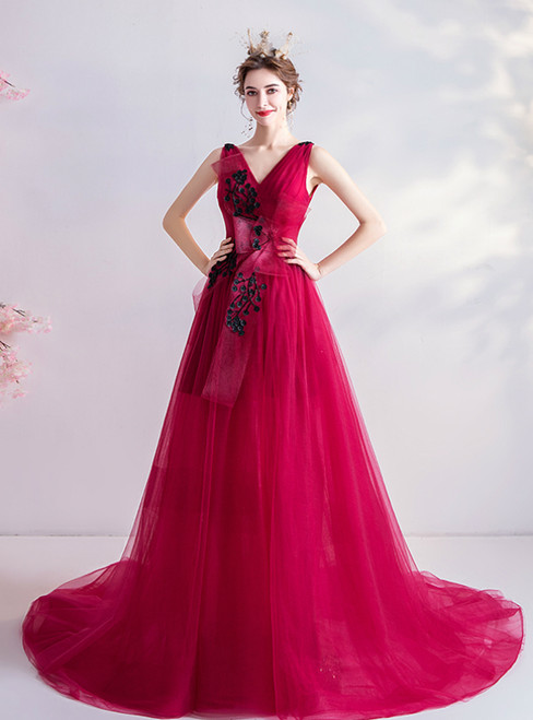 In Stock:Ship in 48 Hours Red Tulle V-neck Sleeveless Beading Prom Dress