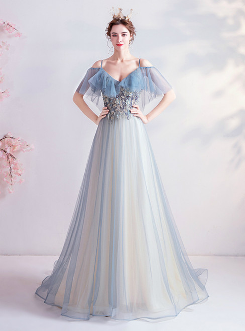 In Stock:Ship in 48 Hours Blue Tulle Spagehtti Straps Appliques Prom Dress