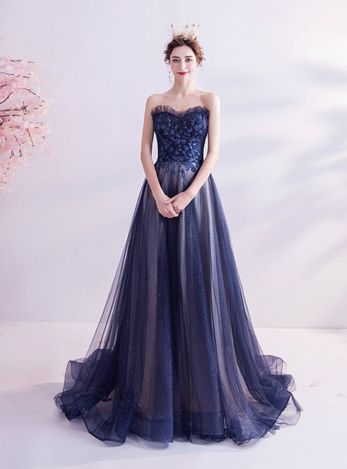 In Stock:Ship in 48 Hours Navy Blue Tulle Sweetheart Prom Dress