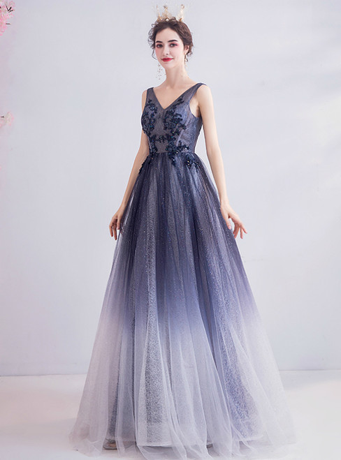 In Stock:Ship in 48 Hours BlueTulle V-neck Appliques Prom Dress
