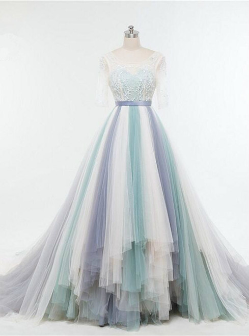 Floor Length Colorful Tulle Featuring Illusion Lace 3/4 Sleeve Wedding Gown