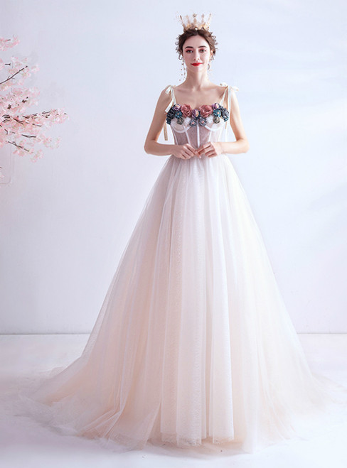 In Stock:Ship in 48 Hours White Tulle Spagehtti Straps Appliques Prom Dress