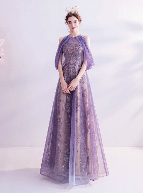 In Stock:Ship in 48 Hours Purple Tulle Sequins Long Prom Dress