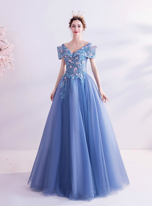 In Stock:Ship in 48 Hours Blue Tulle Appliques Off the Shoulder Prom Dress