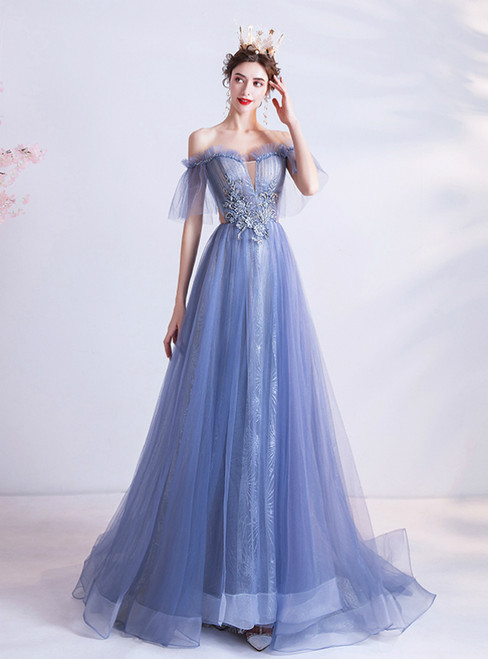 In Stock:Ship in 48 Hours Blue Off the Shoulder Beading Prom Dress