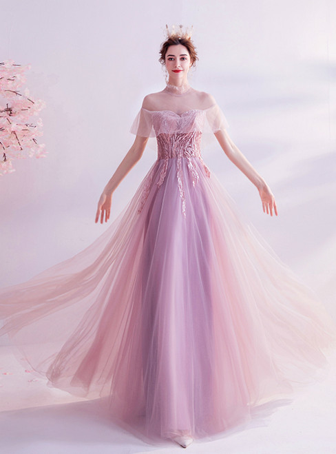 In Stock:Ship in 48 Hours Pink Tulle High Neck Beading Prom Dress