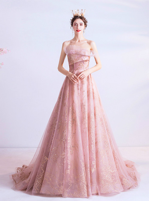 In Stock:Ship in 48 Hours Pink Tulle Strapless Sequins Prom Dress