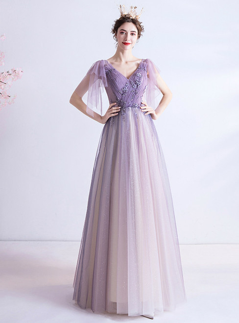 In Stock:Ship in 48 Hours Purple Tulle V-neck Pleats Prom Dress