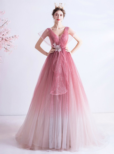 In Stock:Ship in 48 Hours Pink Tulle V-neck Pleats Prom Dress