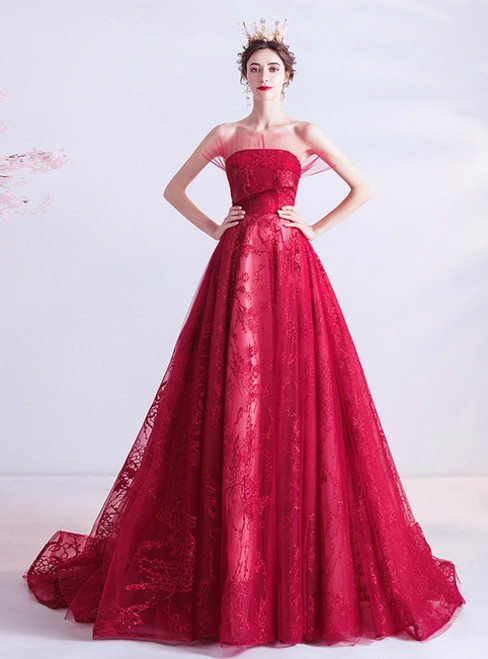 In Stock:Ship in 48 Hours Red Tulle Sequins Strapless Prom Dress