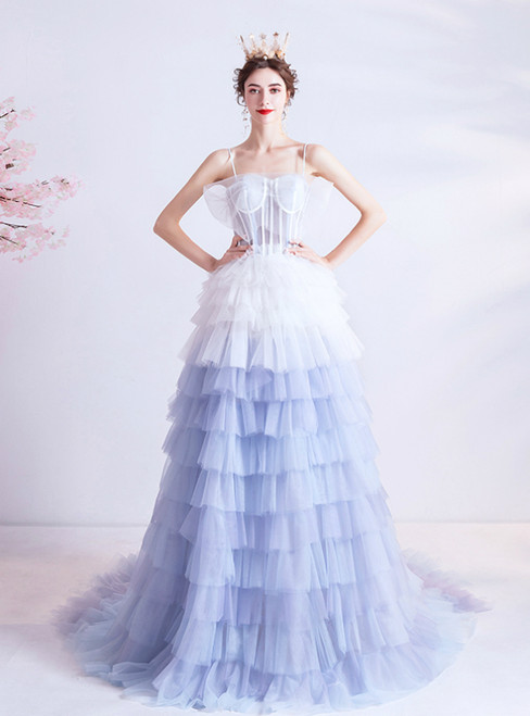 In Stock:Ship in 48 Hours Blue And White Tulle Tiers Prom Dress