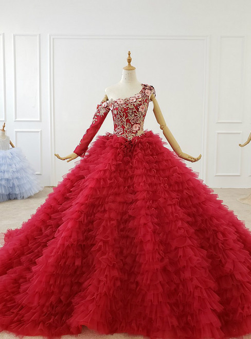 Red Ball Gown Tulle One Shoulder Long Sleeve Appliques Wedding Dress