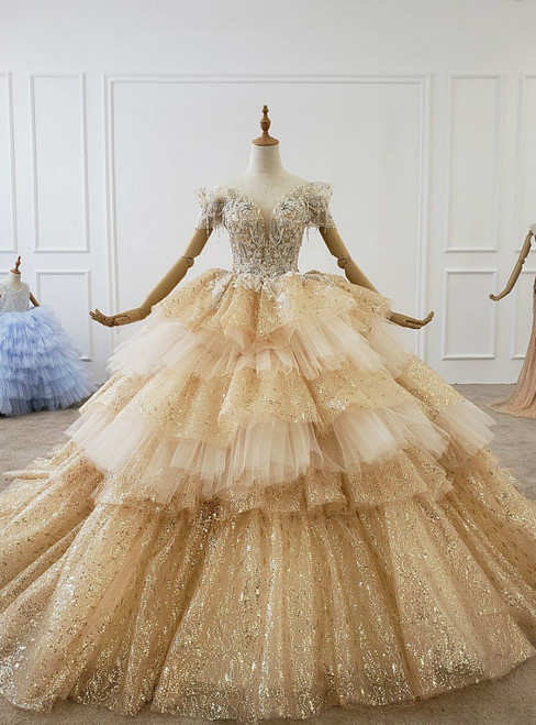 Champagne Gold Ball Gown Tulle Sequins Off the Shoulder Beading Wedding Dress