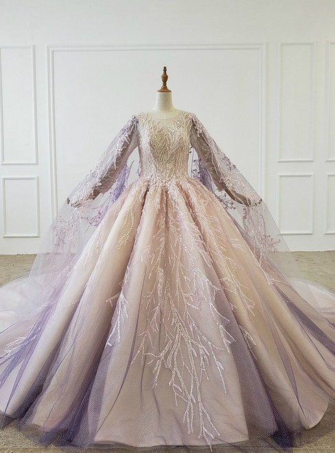 Purple Ball Gown Tulle Sequins Beading Wedding Dress With Shawl