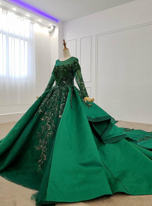 Green Ball Gown Satin Long Sleeve Beading Sequins Appliques Wedding Dress