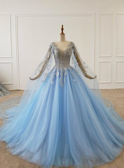 Light Blue Tulle V-neck See Through Back Beading Sequins Wedding Dress