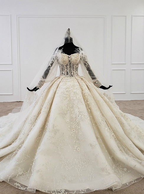 Champagne Ball Gown Tulle Off the Shoulder Beading Appliques Long Sleeve Wedding Dress