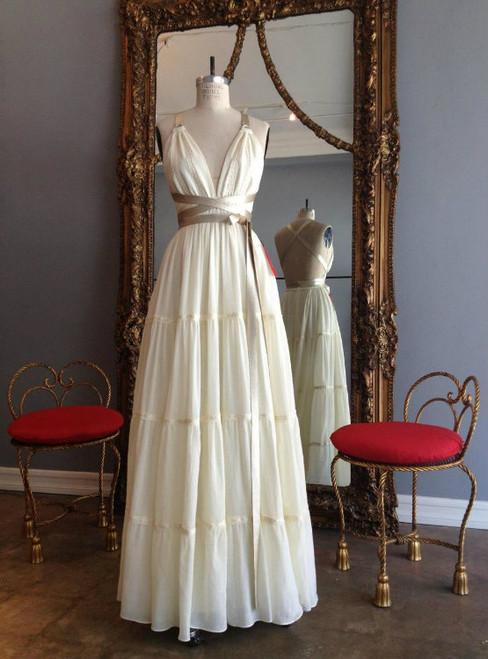 Floor Length Vintage Wedding Dress V-neck Backless With Belt