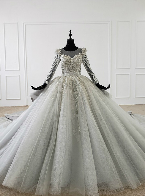 Gray Ball Gown Tulle Seuqins Beading Long Sleeve Wedding Dress With Long Train