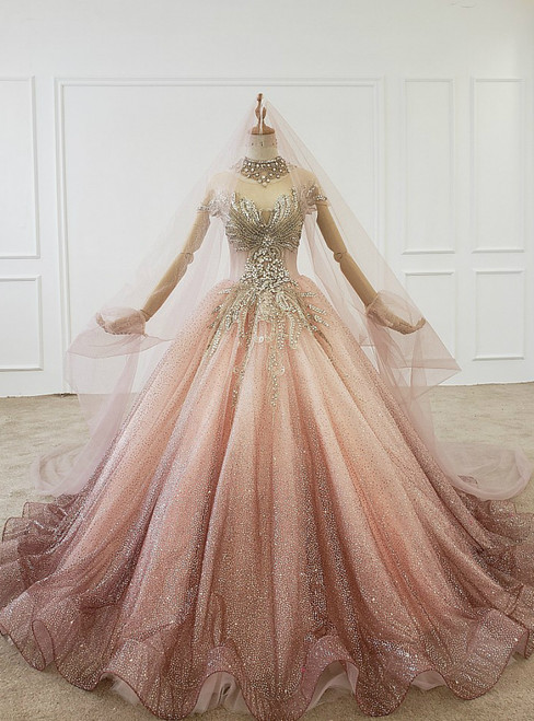 Pink Ball Gown Tulle Sequins High Neck Cap Sleeve Wedding Dress