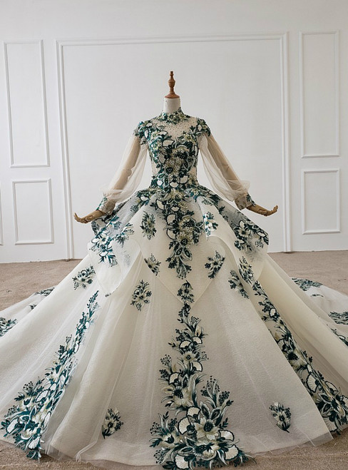 Ivory White Ball Gown Tulle Embroidery Appliques Long Sleeve Wedding Dress