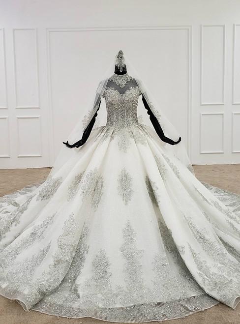 White Ball Gown High Neck Cap Sleeve Beading Sequins Wedding Dress