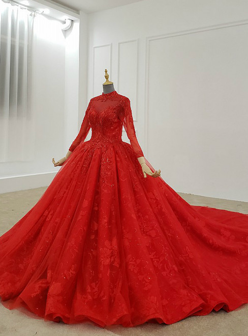 Red Ball Gown Tulle Lace High Neck Long Sleeve Beading Wedding Dress