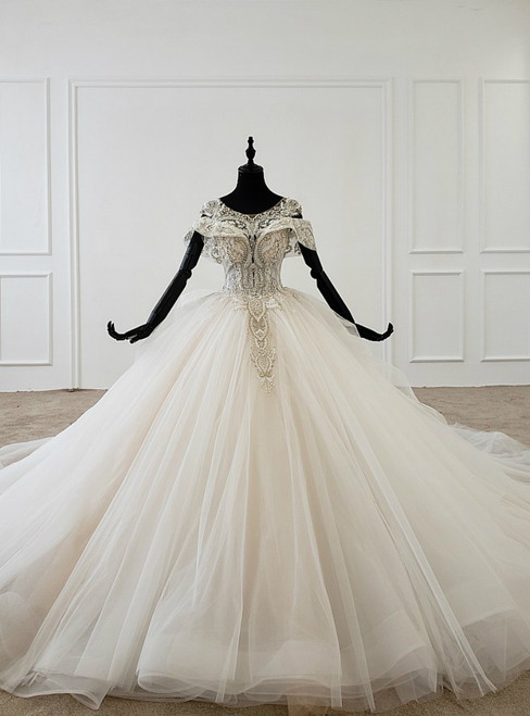 Ivory White Ball Gown Tulle Open Back Beading Sequins Wedding Dress