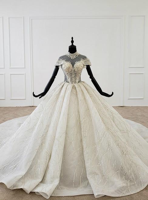 Ivory White Tulle Sequins High Neck Cap Sleeve Beading Wedding Dress