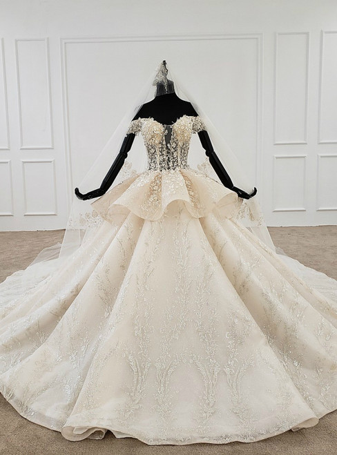 Champagne Ball Gown Tulle Sequins Off the Shoulder Appliques Beading Wedding Dress
