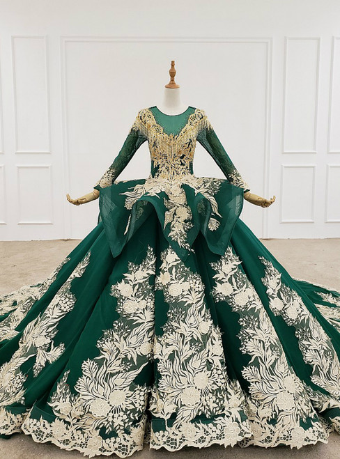 Green Ball Gown Tulle Appliques Backless Long Sleeve Beading Wedding Dress