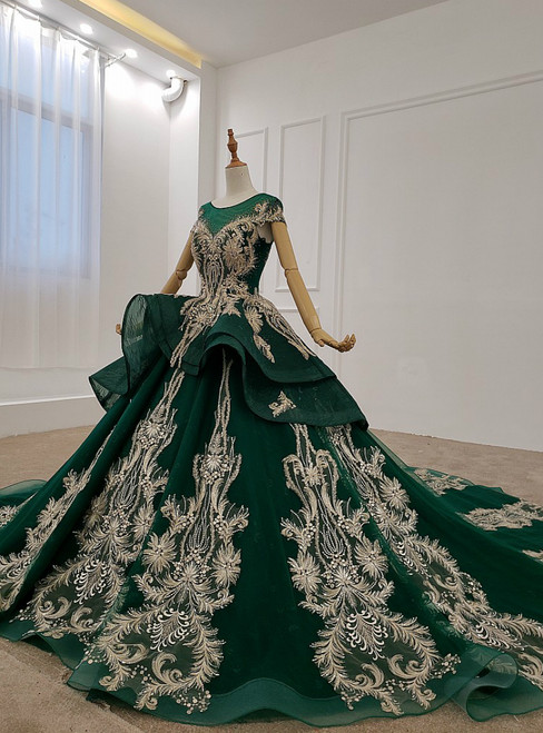 Dark Green Tulle Appliques Beading Cap Sleeve Backless Wedding Dress