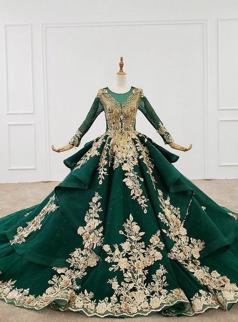Green Ball Gown Tulle Appliques Long Sleeve Backless Beading Wedding Dress