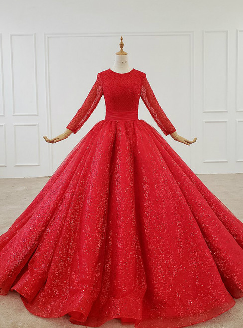 Red Ball Gown Tulle Sequins Long Sleeve Beading Floor Length Wedding Dress