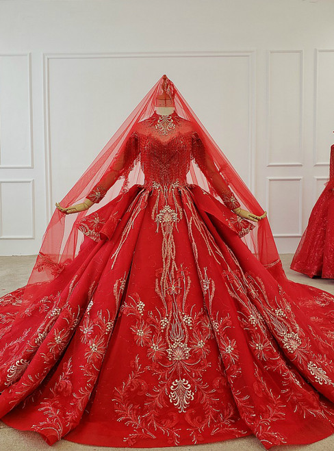 Red Ball Gown Tulle Appliques High Neck Long Sleeve Beading Wedding Dress