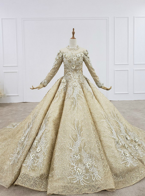 Champagne Gold Ball Gown Lace Sequins High Neck Long Sleeve Wedding Dress