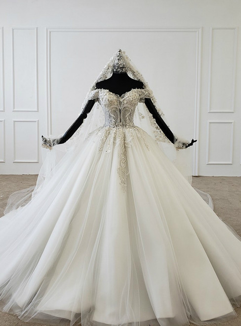 Ivory White Ball Gown Tulle Off the Shoulder Appliques Beading Wedding Dress