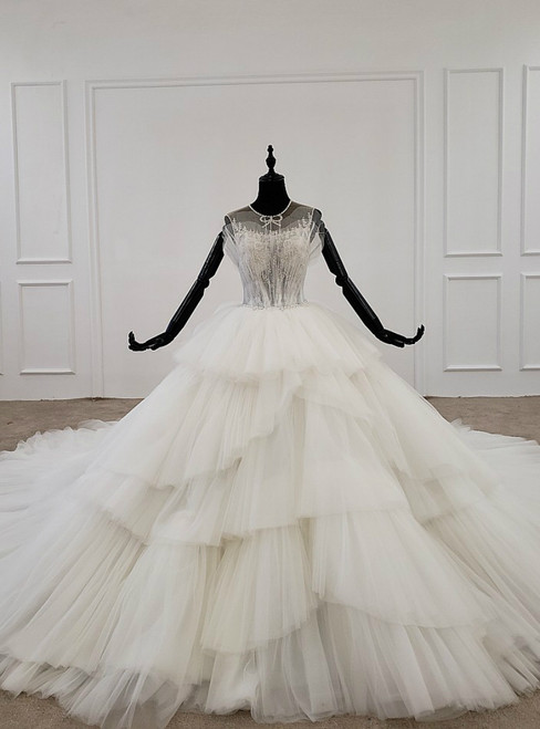 Ivory White Ball Gown Tulle Backless Sleeveless Wedding Dress With Long Train