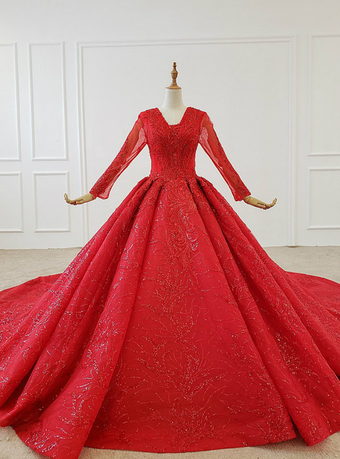 Red Ball Gown Tulle Sequins V-neck Long Sleeve Wedding Dress With Train