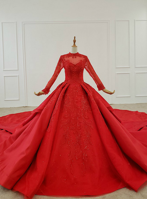 Red Ball Gown Satin High Neck Long Sleeve Sequins Wedding Dress With Long Train